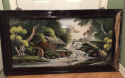 Huge Asian Porcelain Tile Art Painting Wall Art Signed 45 in X 22 In Japan?
