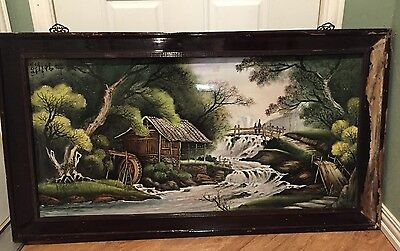 LARGE Asian Watermill Porcelain Tile Art Painting Wall Signed 45 in X 22 In