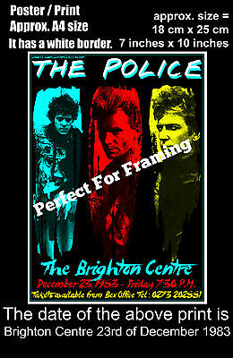 The Police live concert Brighton Centre 23rd December 1983 A4 size poster print