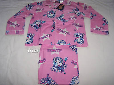 Bratz Girls Pink Stars Printed 2 Piece Flannel Pyjama Set Size 10 New
