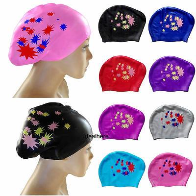 Women Adult Silicone Swim Cap For  Long Hair Bath Hat with Ear Cup Waterproof
