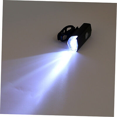 USB Rechargeable Bike Head / Front White Light Lamp Black Bicycle Cycling GH