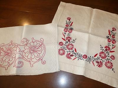 2 Antique Vintage 1920s LINEN REDWORK Table SCARF LOT Towel Embroidery RUNNER
