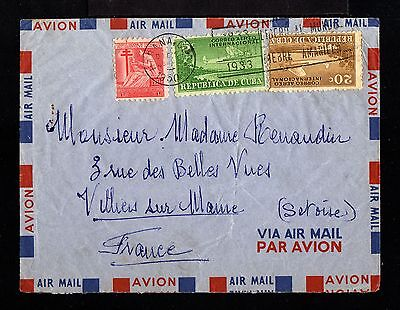 9112-CUBA-AIRMAIL COVER LA HABANA to VILLIERS (france)1933.WWII.Aereo.AERIEN.