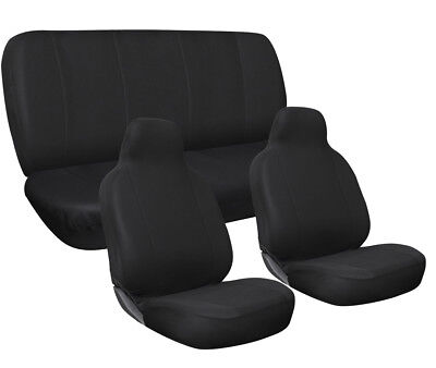 SUV Seat Covers Solid  Black Complete Full Set For Car Truck Van Auto Vehicle