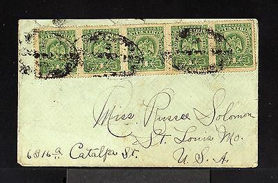 9168-MEXICO-OLD COVER CACERES to ST.LOUIS (usa).1901.Mejico.Enveloppe.brief.