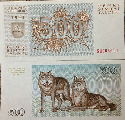 Lithuania 1993 500 Talonu Uncirculated Banknote P-46 Beautiful Pair Of Wolves !!