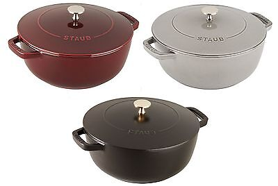 Staub 3.75 Qt Round Cast Iron Essential French Oven Cooking Pot 3 COLOR CHOICE