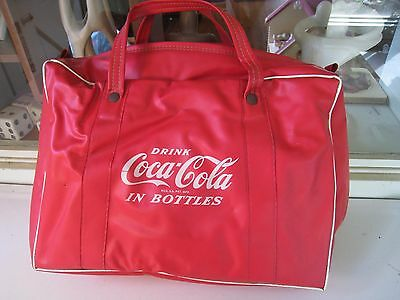 """coca-cola insulated vinyl tote handled bag holds 6 bottles fair 15"""" advertising"""