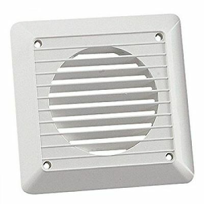 "White Square Plastic Wall Grille for 4""/100mm Extractor Fan Ventilation Ducting"
