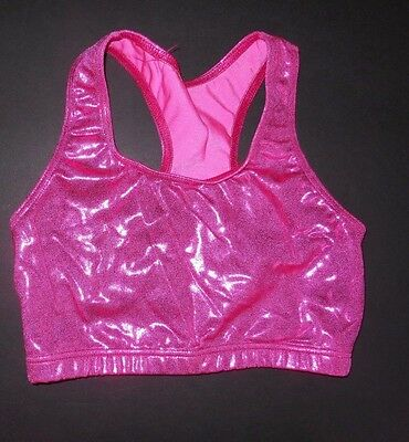 NWOT Axis Racer Back Tank Crop Top Metallic Cerise Foil Medium child