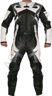 """PERIL"" New 2-piece Leather Biker Motorcycle Suit - Striking Design - All sizes!"
