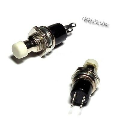 Momentary Mini On Off Push Button Micro On-Off SPST Switch 2 Pins WHITE Color