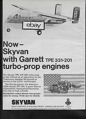 Northern Consolidated Airlines Short Bros 1968 Skyvan #n4906 Garrett Engines Ad