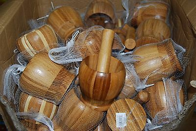 Lot Of 48pc Wooden Mortar and Pestle  Wholesale Free Shipping