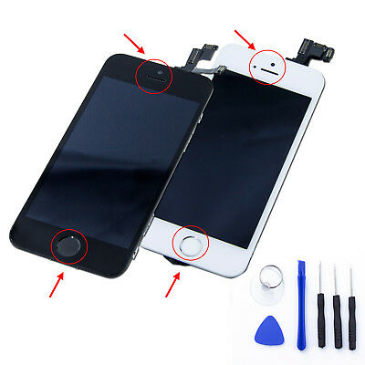 IPHONE 5S / 5C / 5 VITRE TACTILE COMPLET + ECRAN LCD SUR CHASSIS + OUTILS+Home