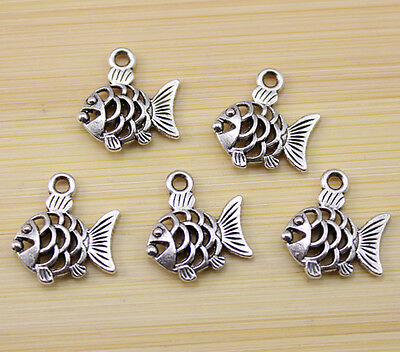 25/50/100 pcs Lively and lovely Tibet silver Hollow out fish charm pendant