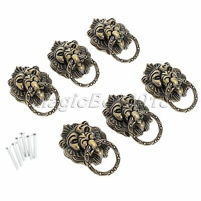 6x Vintage Brass Lion Head Drawer Cupboard Cabinet Dresser Ring Pull Handle Knob