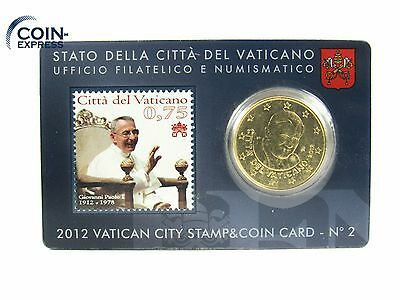 *** 50 Cent VATIKAN 2012 STAMP & COIN CARD Nr. 2 Euro Münze Vaticano KMS Coin **
