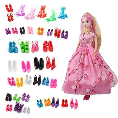 40 Pairs Different Fashion High Heel Sandal Shoes Boots For Barbie Doll