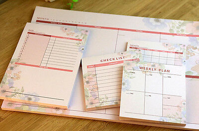 Monthly Weekly Daily Journal Schedule Planner NotePad Organizer Check List #B74
