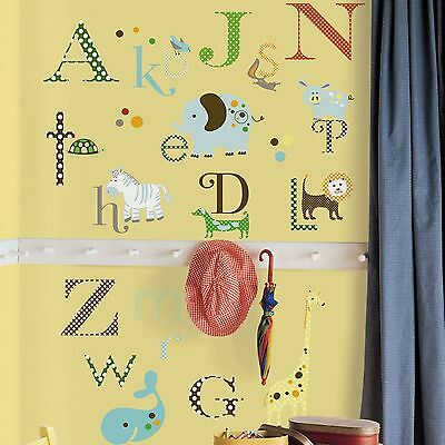 Roommates Animal Alphabet Kids Bedroom Wall Stickers Wall Decor Free P+P