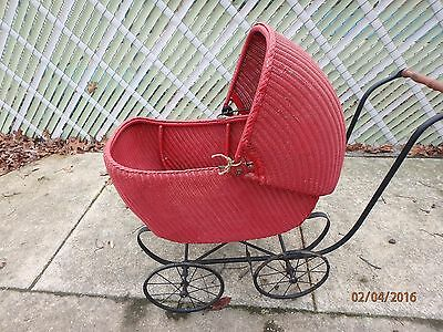 Antique Wicker Baby Carriage Buggy Vintage Old Stroller Buggie Red