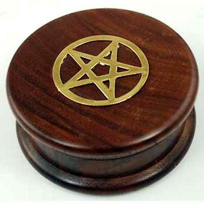 "3"" Wooden Herb Grinder with Pentagram!"