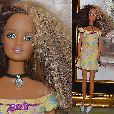 "Mattel Barbie 11.5"" CALI GIRL TERESA Crimped Hair Bohemian Sundress & Shoes"