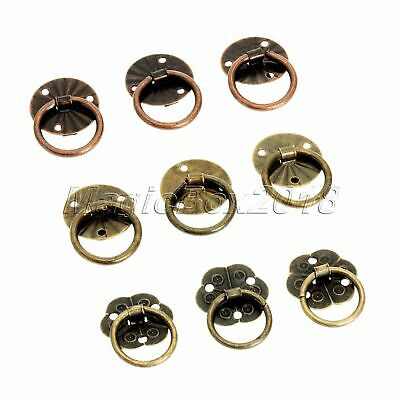 12pcs Antique Bronze Drawer Cupboard Cabinet Knobs Old Drop Ring Pulls Handle