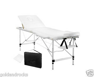 NEW Portable Aluminium Massage Table 3 Fold Beauty Bed Therapy Waxing White