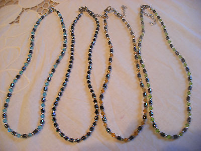 Hematite Faceted Glass Crystal & Silver Plate Beaded Necklace Assorted Colours