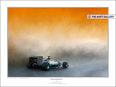 Lewis Hamilton Mercedes Formula One F1 Racing Car Print Painting Picture Signed