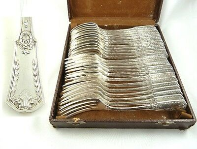 ANTIQUE FRENCH  SILVER FLATWARE SERVICE FOR TWELVE with Case