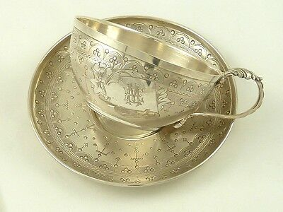 Antique French Sterling Silver Chocolate Cup Tea Cup Saucer Boivin