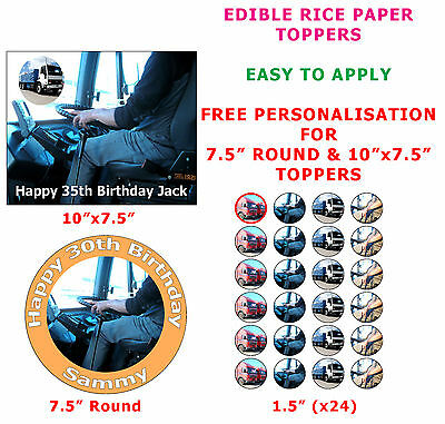 Personalised Lorry And Truck Driver HGV LGV Cake/Cupcake Topper On Rice Paper
