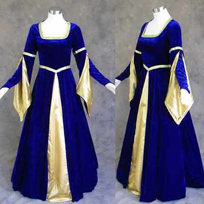 BLUE Medieval Renaissance Cosplay Gown Dress Costume Wedding Wicca LARP LOTR M