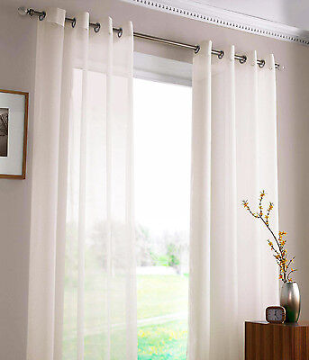 SHEER VOILE AURA EYELET CURTAINS 2X120X221cm WHITE Great Lace alternative