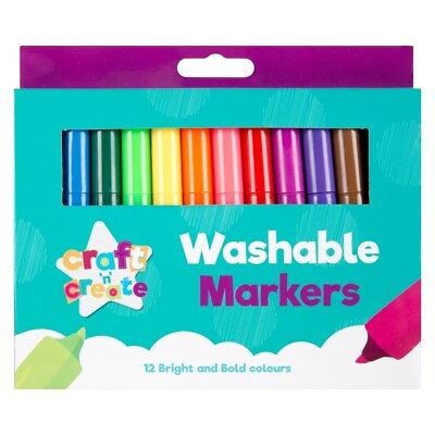 12 x Bullet Tipped Coloured Markers Pens Stationery School Children Kids Art
