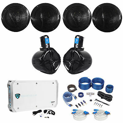 "(4) Rockville RMC80B 8"" 1600w Marine Boat Speakers+(2) Wakeboards+Amp+Wire Kit"
