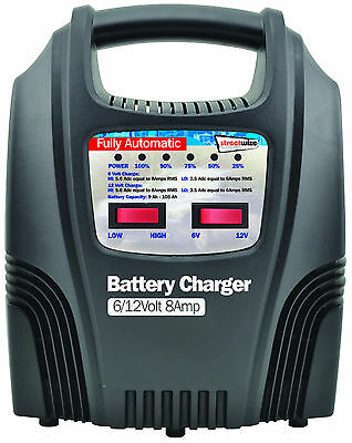 Streetwize 8 Amp Automatic Trickle Car Motorbike Motorhome 12V Battery Charger