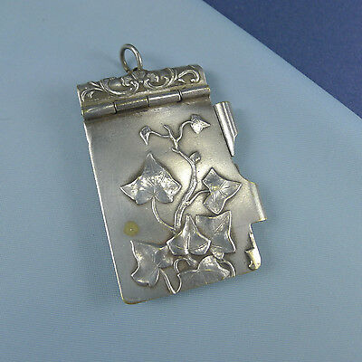 Fine Art Nouveau Ivy Dance Card / Silver Plated