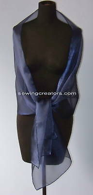 Sheer Navy Blue Evening Wrap Bridal Shawl Formal Prom
