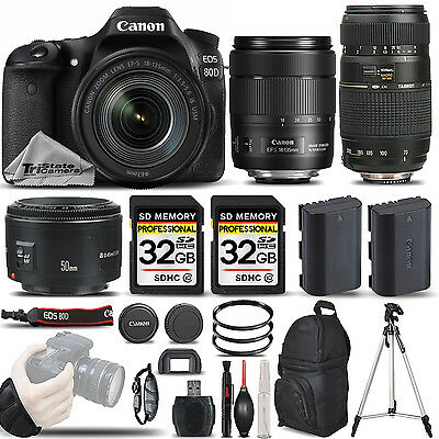 Canon EOS 80D DSLR Camera with 18-135mm Lens +50mm 1.8 + 70-300mm - 64GB BUNDLE