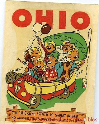 VINTAGE OHIO 'BUCKEYE STATE' NOVELTY COMIC SOUVENIR 1950s TRAVEL WATER DECAL ART