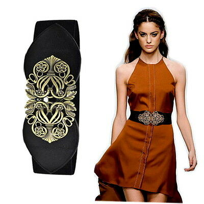 Women Retro Adjustable Flower Elastic Stretch Buckle Wide Waistband Belt G#