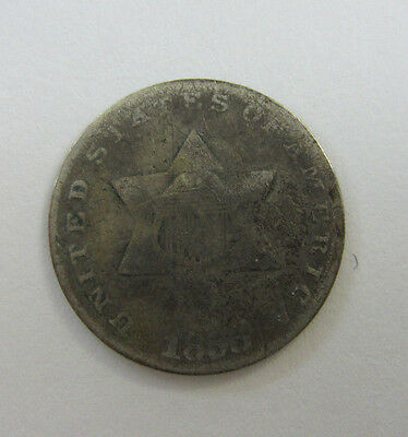 1853 Three Cent Piece 75% Silver -- Free Shipping *