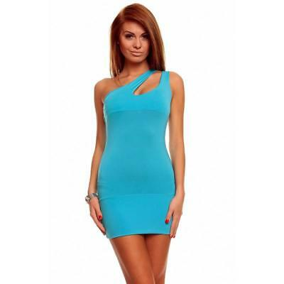 Sexy One-Shoulder Kleid Minikleid Gogo Clubwear Türkis 34/36/38 #mk1758