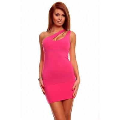 Sexy One-Shoulder Kleid Minikleid Gogo Clubwear Pink 34/36/38 #mk1757