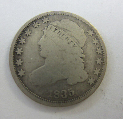 1835 Bust Capped Dime 90% Silver  -- Free Shipping *